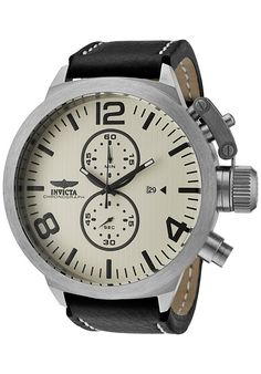 Invicta Watches: Men's Corduba Chronograph Ivory Textured Dial Black Calf Leather