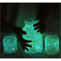 Such a simple but Amazingly Beautiful project....takes a few hours: Mason Jars in various sizes, glow in the dark water proof paint (careful it stains), small tip Paint Brushes..... Paint dots on inside of jars...the more dots and colors, the prettier they are....then after they are completely dry, feel with water and place on tables or hang