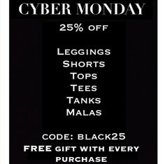 Cyber Monday Sale! Get a free gift with every order AND Save 25% on leggings, tanks, tees, Malas & more!  It's the last day of our sale & we don't want you to miss out! Link in bio~  #cybermonday #yogapants #leggings #hotyoga #bikram #bikramyoga #vinyasa #supyoga #acroyoga #mensyoga #bootyshorts #om #namaste #yogastyle #yogaootd #yogalove #yogagirl #athleisure #athleisurewear #yogawear #mala #malabeads #madeinSF