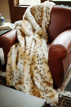 Snow Leopard Limited Edition Faux Fur Throw Blanket