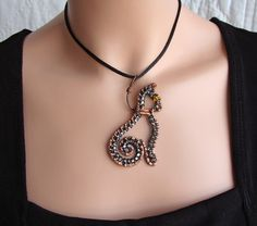 Cat On A Leash Wire Wrapped Pendant Neckace by sparkflight on Etsy, $30.00