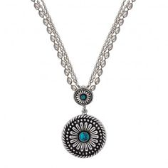 Desert Mesa Flower Drop Pendant Necklace (NC1392TQ) - Necklaces - Jewelry - Jewelry & Gifts | Montana Silversmiths