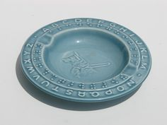 Vintage Braille Seeing Eye Dog Alphabets Pottery Plate Ashtray. $19.00, via Etsy.