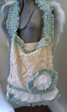 TREASURY ITEMFeminine Upcycled Vintage Crochet  by shabbychatue, $25.00