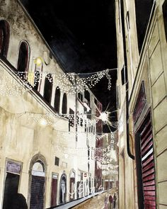 Street in Florence Italy Night Lights print by LeshasArtShop, $16.00