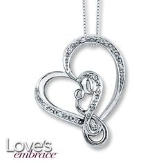 Mothers Embrace Necklace 1/20 ct tw Diamonds Sterling Silver