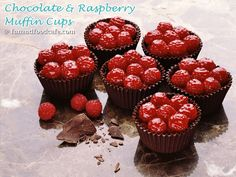 Homemade chocolate cups made in muffin pans, then filled with chocolate mousse and raspberries make an elegant dessert