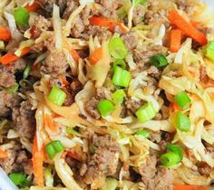 Egg Roll In A Bowl 1 lb ground country sausage 1 bag dry coleslaw mix shredded cabbage and carrots 5 cloves garlic minced 12 cup soy sauce 1 teaspoon ginger sliced green. Low Carb Recipes, Cooking Recipes, Healthy Recipes, Egg Roll Recipes, Turkey Recipes, Appetizer Recipes, Dinner Recipes, Pork Egg Rolls, Eggroll In A Bowl