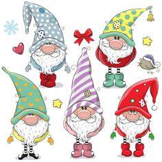 Set of Cute Cartoon Gnomes isolated on a white background - Guggi's Bastelwand - Karikatur Area Christmas Rock, Christmas Gnome, Christmas Crafts, Christmas Decorations, Christmas Ornaments, Cartoon Mignon, Black And White Cartoon, Christmas Drawing, Xmas Drawing