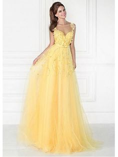 A-Line Long Yellow Illusion Neckline Prom Formal Evening Dresses 99501026