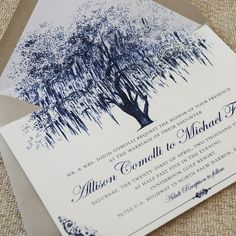 No 3 - Oak Tree with Filigree Details Wedding Invitation (Vintage Blue) - Would potentially remove scrolling and bar at base and change to black or charcoal - use for Save the date