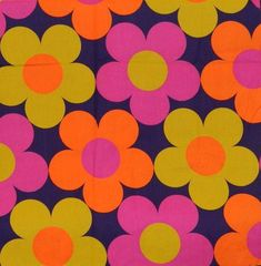 Flower Power Vintage Mod Fabric HUGE by queenofcollectibles,