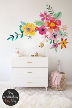 Removable Peel and Stick Floral Wall Decals on Etsy Removable Wall Decals, Vinyl Decals, Wall Vinyl, Bedroom Wall Stickers, Watercolor Walls, Little Girl Rooms, Floral Wall, Girls Bedroom, Girls Room Paint