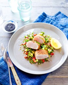 Spiced queenfish with quinoa tabbouleh