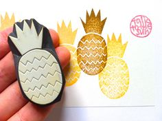 pineapple stamp. tropical fruit stamp. hand carved by talktothesun, $8.00