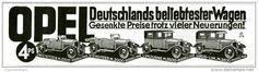 Original-Werbung/Inserat/ Anzeige 1928 - OPEL 4 PS / 4 MODELLE- ca. 180 x 60 mm