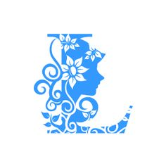 Graphic Design of Flower Clipart - Blue Alphabet L with White Background
