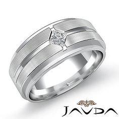 Princess Bezel Diamond Mens Half Wedding Band 14k White Gold 10.5mm Ring 0.25Ct