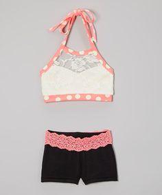 Cream Lace Halter Sports Bra & Black Lace Shorts - Girls by Elliewear #zulily #zulilyfinds