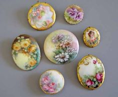 Victorian porcelain brooches | Antique porcelain buttons and brooches