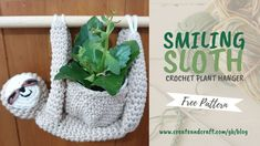 Looking for an easy way to add irresistible charm to your home decor? This sleepy sloth is ideal! Check out Mandy Cameron's free crochet sloth pattern here. Crochet Sloth, Crochet Art, Crochet Patterns Amigurumi, Learn To Crochet, Free Crochet, Knitting Patterns, Crochet Bowl, Crochet Mermaid, Crochet Things