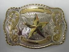 STAR TEXAS 3-D RODEO BIG COWBOY WESTERN SHINE BELT BUCKLE