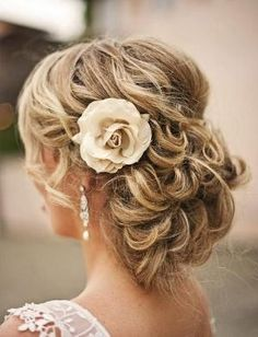 Romantic Curly Updo Hairstyle with Flower by adasbridal