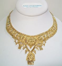 Ornate Beaded Fringed East Indian Necklace by ALEXLITTLETHINGS