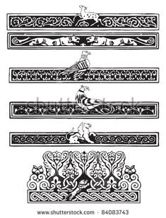 Ornament with birds and animals in the Gothic plot. Vector illustration.
