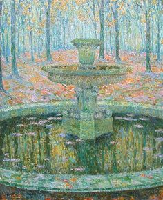 The Fountain originally painted by Henri Le Sidaner