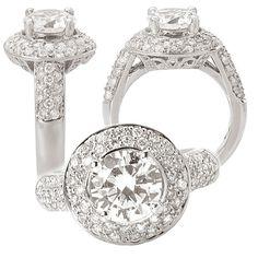 18K white gold diamond engagement ring semi-mount, holds 2 carat center