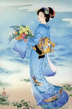 Haruyo Morita - Geisha with Blue Kimono Asian Artwork, Japanese Painting, Japanese Prints, Chinese Painting, Art Geisha, Geisha Kunst, Art Chinois, Art Asiatique, Art History