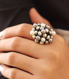 Fashoin Costume Alloy and Pearl Spherical Personalized Usual Fashion Ring for Promotion Wholesale at Cheap Price - Yaling Jewelry