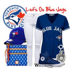 ef121365420d5b Let s Go Blue Jays! by wearwhatyouwatch on Polyvore featuring Majestic