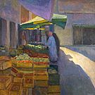 "Ian Roberts - Market in Carpentras, Provence - Oil on panel, 36"" x 36"""