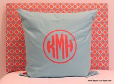 Coral monogrammed euro..circle monogram on tiffany blue pillow.  Custom headboard. perfect for home dorm apartment life!