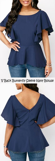 V Back Butterfly Sleeve Navy Blue Blouse #liligal #blouse #shirts #top #womenswear #womensfashion