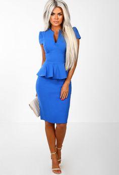 487b1bcb0716d Fool For You Royal Blue Belted Bodycon Midi Dress - 8   Women ...