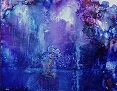 "Moonlight on the  lake by Lou Jordan Alcohol inks on Yupo ~ 9"" x 12"""