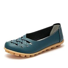 059acff5f57 KEESKY Women s Leather Casual Cut Out Loafers Flat Slip-On Shoes