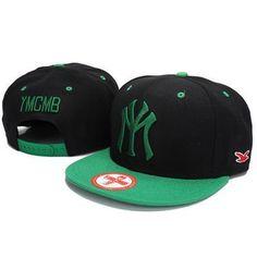 YMCMB NY Snapback Hats - Black Green