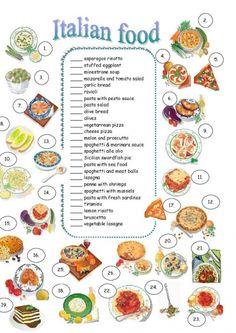 yes i am an italian Italian Vocabulary, Food Vocabulary, Kindergarten Worksheets, Worksheets For Kids, Italian Dishes, Italian Recipes, History Of Pizza, How To Speak Italian, Sauce Spaghetti