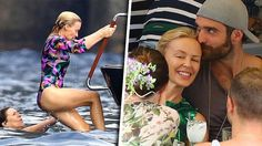 Kylie Minogue, 48, lomailee Italiassa 20 vuotta nuoremman kihlattunsa kanssa – laulaja upeana värikkäässä uimapuvussa