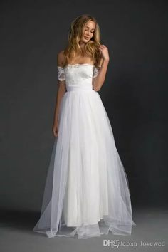 Discount 2017 Beautiful Soft Tulle Over Satin A Line Beach Wedding Dresses Off The Shoulder Lace Top And Tulle Skirt Vestido De Noiva Bridal Gowns Classic Wedding Dresses Dress For A Wedding From Lovewed, $110.56| Dhgate.Com