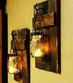 Rustic home decor rustic candles lights home and living mason jar decor farmhouse decor wood decor candle holders priced 1 each Rustic Wood Candle Holder Rustic Home by TeesTransformations Rustic Lanterns, Rustic Candles, Jar Candles, Mason Jar Lanterns, Porch Lanterns, Outdoor Candles, Rustic Chandelier, Wood Sconce, Candle Sconces
