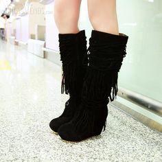 Comfort Black Suede Wedge Heel Closed Toe Kee High Boots with Tassel Wedge Boots, High Heel Boots, Shoe Boots, Shoes Heels, High Heels, Shoe Tattoos, Black Suede Wedges, Cute Heels, Designer Boots