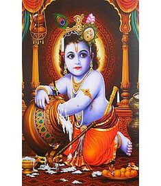 Makhan Chor Krishna (Reprint On Paper - Unframed) Little Krishna, Baby Krishna, Cute Krishna, Photos Of Lord Krishna, Krishna Pictures, Saraswati Goddess, Kali Goddess, Bal Krishna Photo, Krishna Hindu