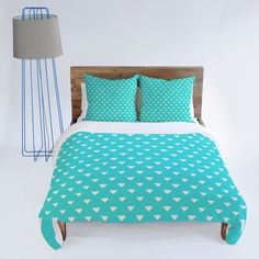 Bianca Green Geometric Confetti Teal Duvet Cover #teal #confetti #triangle #bedding #bedroom