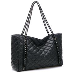 Amazon.com: MG Collection HARVA Black Oversized Quilted Chain Link Shopper Tote: Clothing