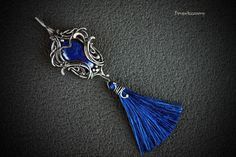 Silver pendant with lapis lazuli WITHOUT CHAIN  by DorasAccessory